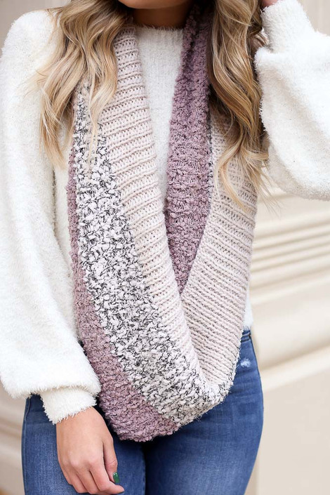 Blush - Popcorn Knit Metallic Infinity Scarf on Dress Up Model