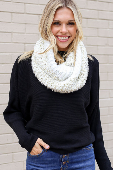 Dress Up model wearing the Ivory Popcorn Knit Infinity Scarf