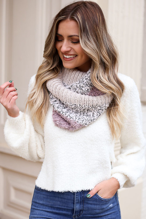 Model wearing the Popcorn Knit Infinity Scarf in Blush from Dress Up Front View