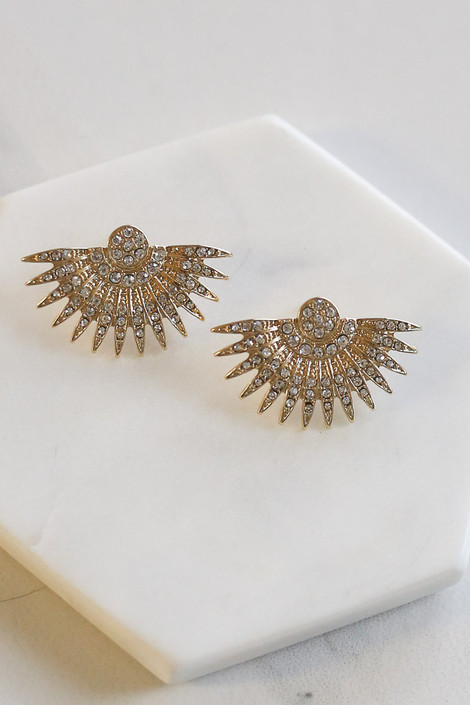 Gold - Rhinestone Fan Statement Stud Earrings Flat Lay