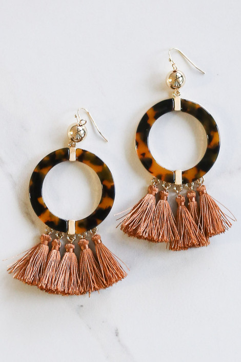 Camel - Tortoise and Tassel Statement Earrings from Dress Up