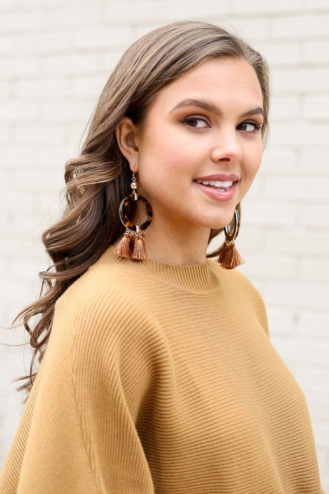 Camel - Tortoise and Tassel Statement Earrings