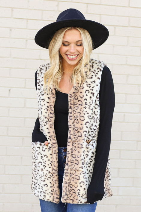 Leopard - Faux Fur Vest from Dress Up