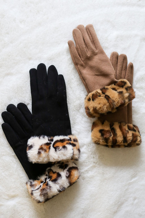 Black - Leopard Print Faux Fur Lined Gloves from Dress Up