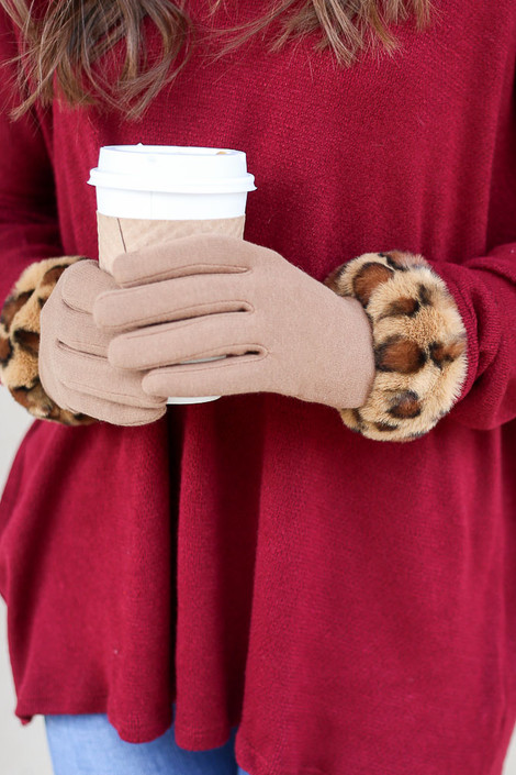 Taupe - Leopard Print Faux Fur Lined Gloves from Dress Up on Model