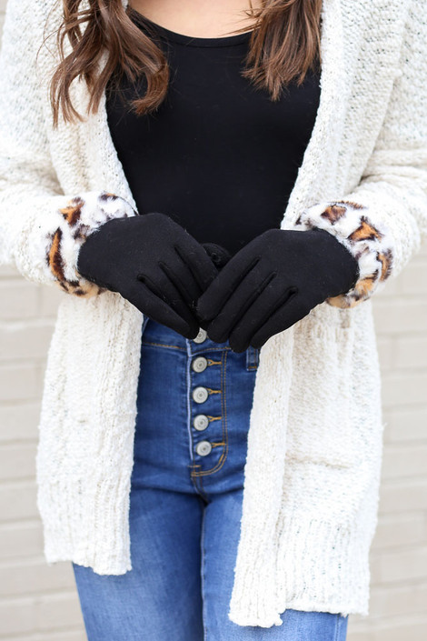 Black - Leopard Print Faux Fur Lined Gloves from Dress Up on Model with White Sweater