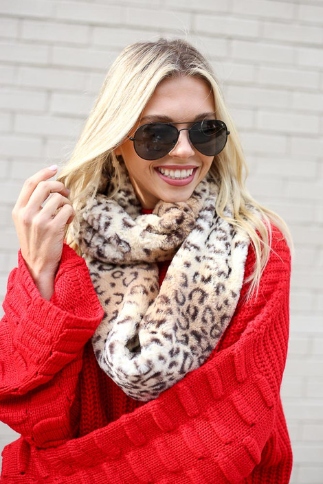 Leopard Faux Fur Infinity Scarf on Model with sweater Front View