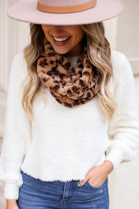 Taupe - Faux Fur Infinity Scarf on Dress Up Model