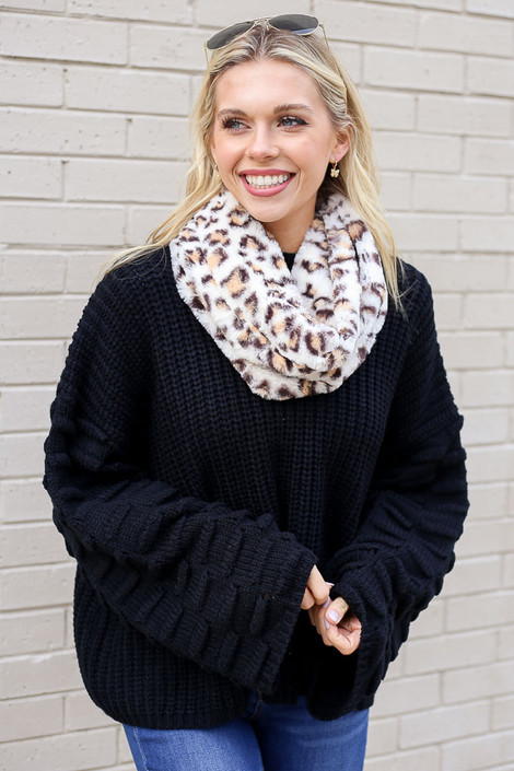 Model wearing the Leopard Faux Fur Infinity Scarf from Dress Up