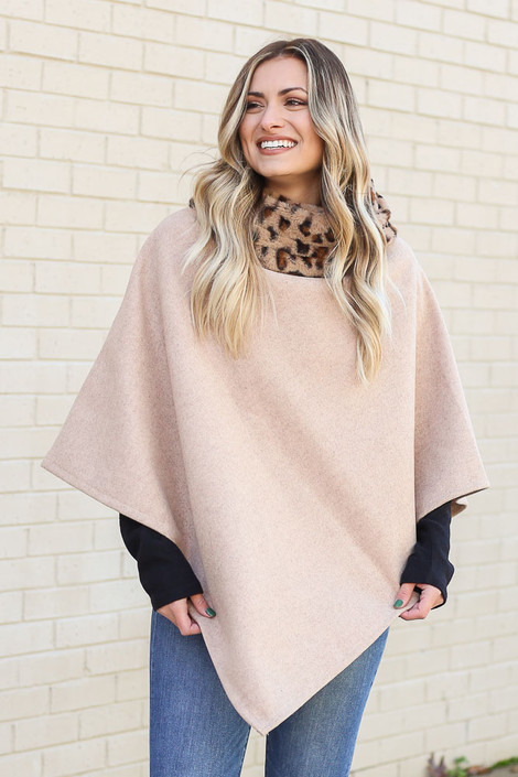 Ivory - Leopard Faux Fur Turtleneck Poncho from Dress Up