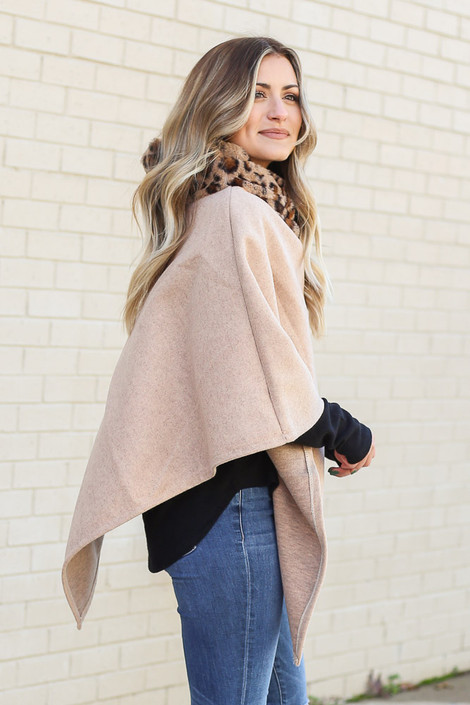 Model wearing the Ivory Leopard Print Faux Fur Turtleneck Poncho from Dress Up Side View