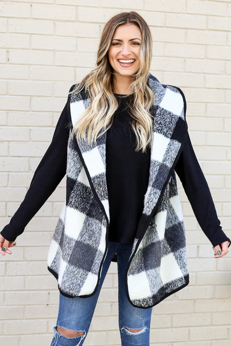 Black - Buffalo Plaid Vest on model from Dress Up