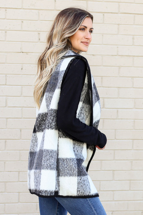Model of Dress Up wearing the Buffalo Plaid Vest in Black Side View