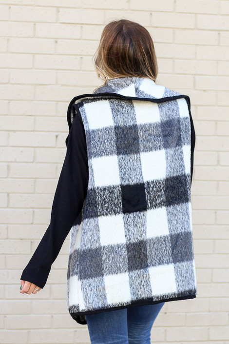 Model of Dress Up wearing the Buffalo Plaid Vest in Black Back View