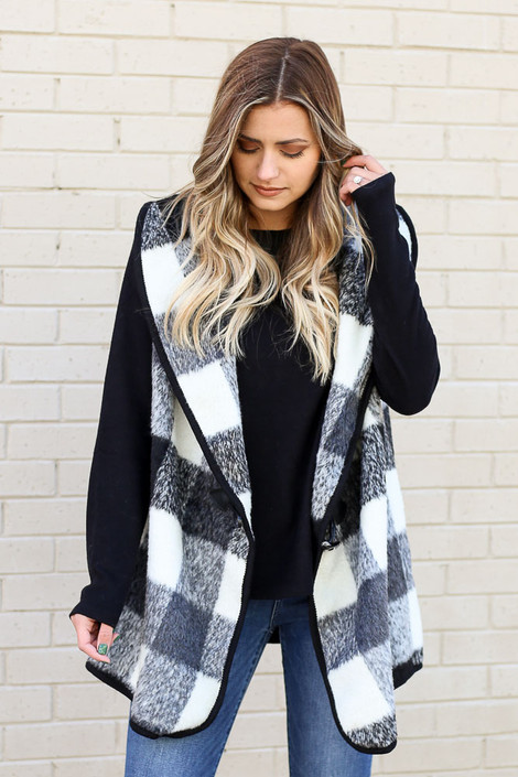 Model of Dress Up wearing the Buffalo Plaid Vest in Black Front View