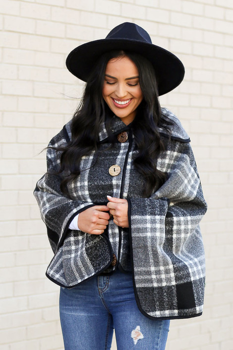 Grey - Fuzzy Knit Plaid Oversized Collar Poncho