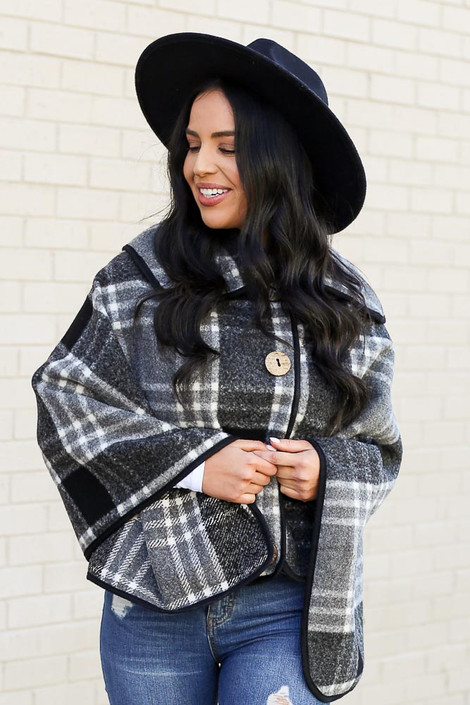 Model of Dress Up wearing the Plaid Oversized Collar Poncho Front View