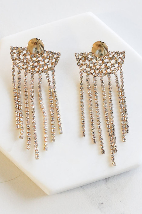 Gold - Rhinestone Fan Statement Earrings