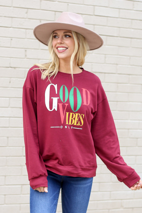 Burgundy - Good Vibes Only Vintage Graphic Pullover from Dress Up