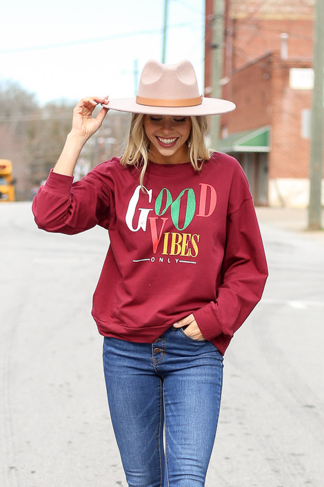 Dress Up model wearing the Good Vibes Only Vintage Graphic Pullover