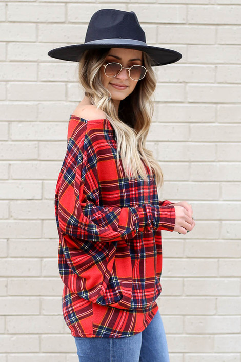 Model of Dress Up wearing the Plaid Oversized Off the Shoulder Tunic Side View