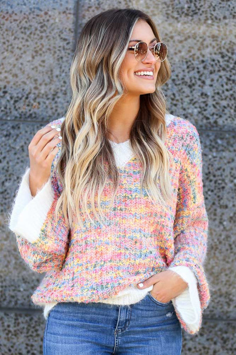 Ivory - Rainbow Confetti Eyelash Knit Sweater