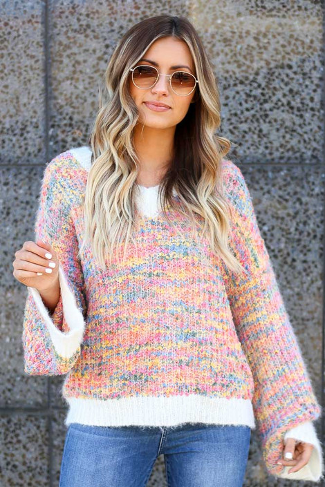Ivory - Rainbow Confetti Eyelash Knit Sweater from Dress Up
