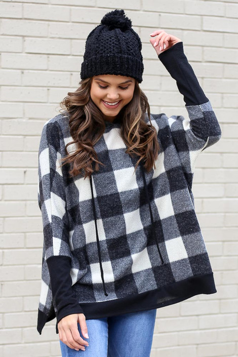 Black - Buffalo Plaid Oversized Brushed Knit Hoodie from Dress Up