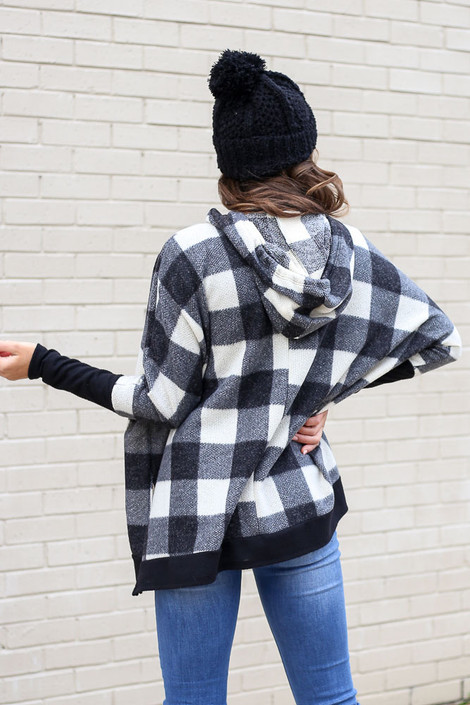 Buffalo Plaid Oversized Brushed Knit Hoodie Back View