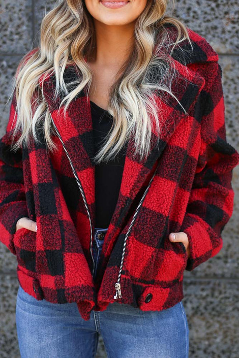 Red - Buffalo Plaid Sherpa Jacket