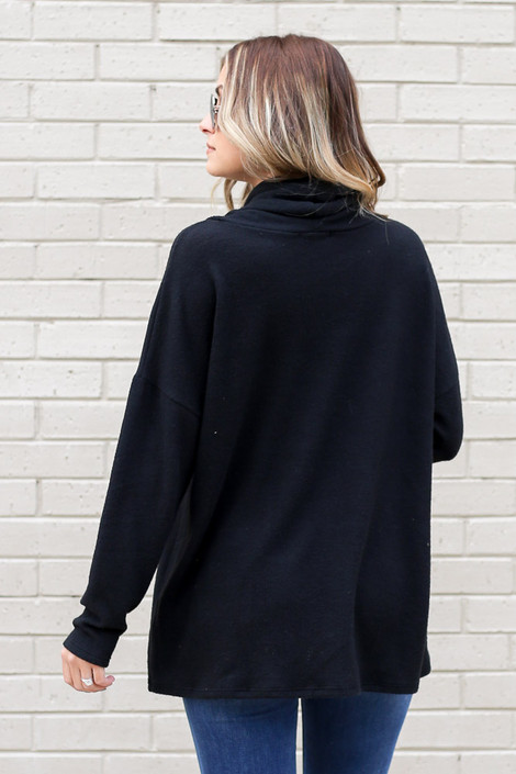 Cowl Neck Brushed Knit Pullover Back View