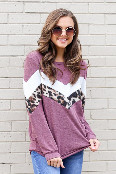 Burgundy - Chevron French Terry Pullover
