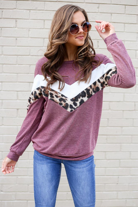 Burgundy - Chevron French Terry Pullover from Dress Up