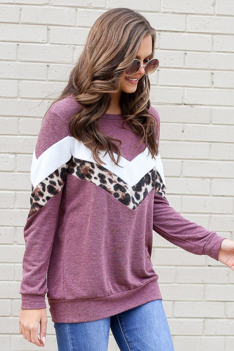 Model wearing the Chevron French Terry Pullover from Dress Up