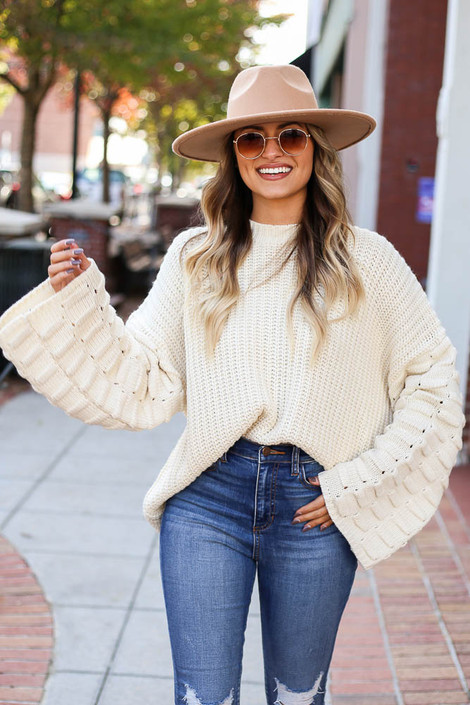 Ivory - Textured Knit Wide Sleeve Sweater