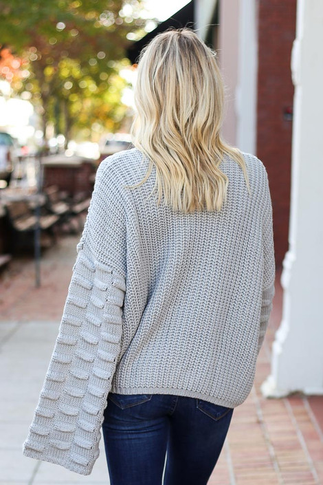 Heather Grey - Textured Knit Wide Sleeve Sweater