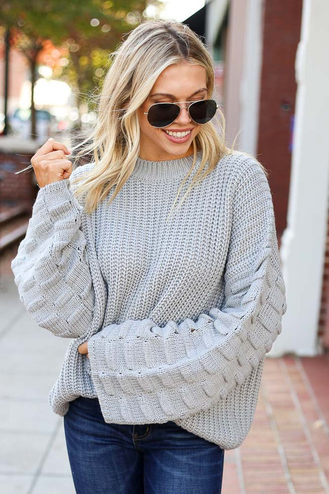 Heather Grey - Textured Knit Wide Sleeve Sweater from Dress Up