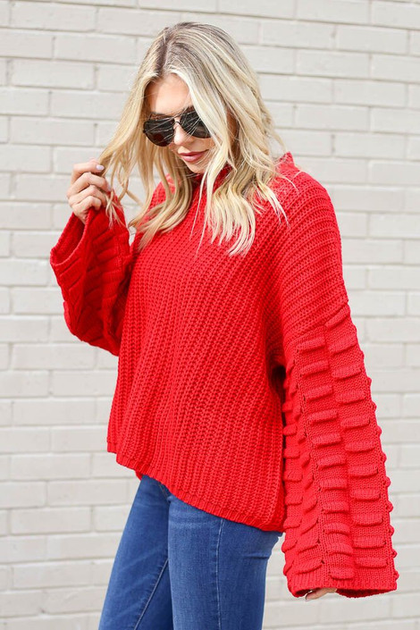 Red - Textured Knit Wide Sleeve Sweater from Dress Up