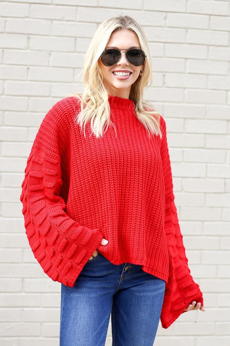 Red - Textured Knit Wide Sleeve Sweater