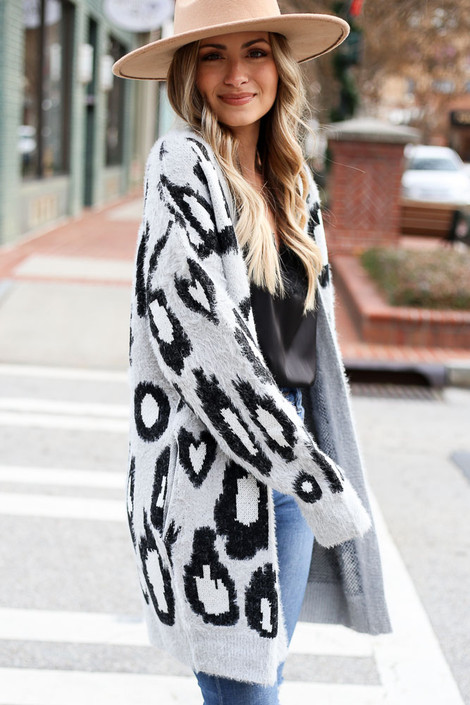 Grey - Leopard Eyelash Knit Cardigan Sweater from Dress Up