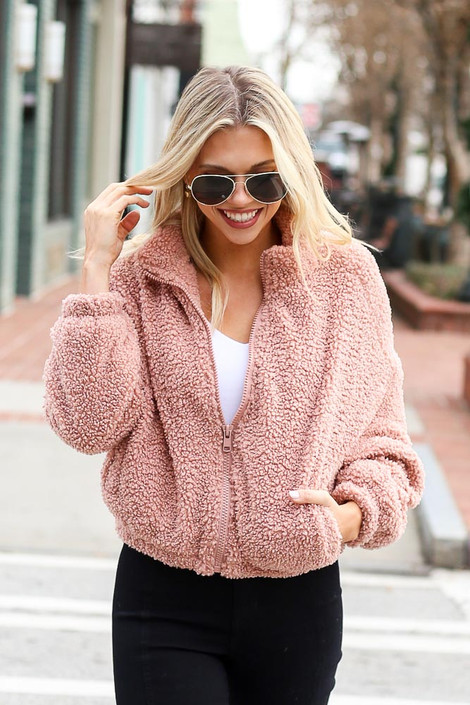 Mauve - Cropped Zip Up Sherpa Teddy Jacket