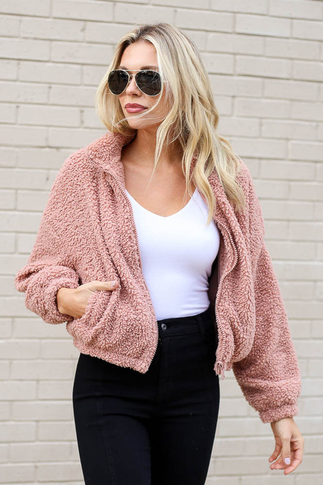 Mauve - Cropped Zip Up Sherpa Teddy Jacket from Dress Up