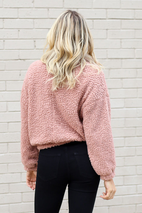 Cropped Zip Up Sherpa Teddy Jacket Back View
