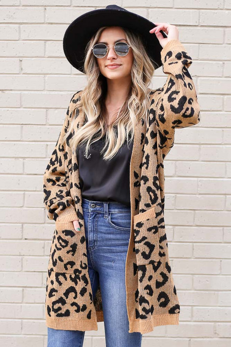 Camel - Leopard Longline Knit Cardigan Sweater from Dress Up