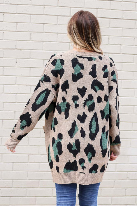 Model wearing the Leopard Longline Cardigan Sweater in Camel from Dress Up Back View
