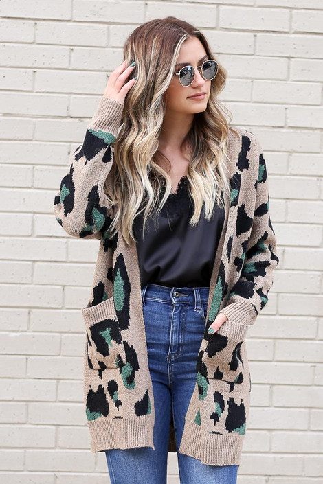 Model wearing the Leopard Longline Cardigan Sweater in Camel from Dress Up Front View