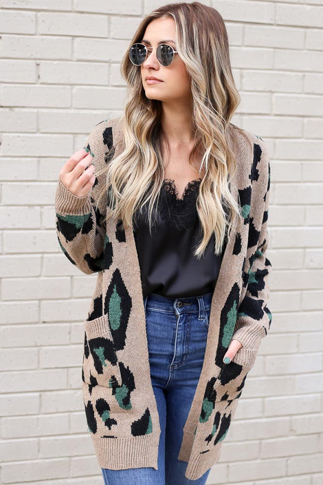 Model wearing the Leopard Longline Cardigan Sweater in Camel from Dress Up with High Rise Jeans and Lace Tank Front View