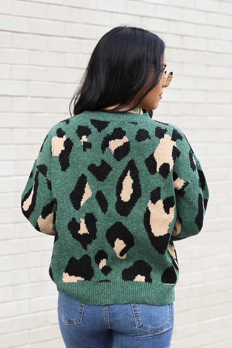 Leopard Luxe Knit Sweater Back View