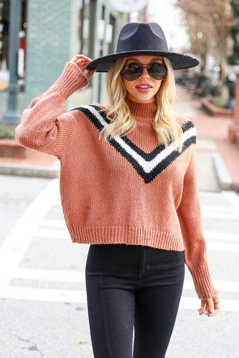 Camel - Chevron Mock Neck Sweater from Dress Up