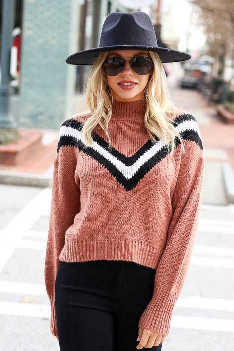 Camel - Chevron Mock Neck Sweater